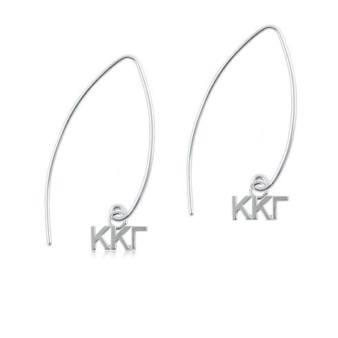 Sterling Silver Kappa Kappa Gamma Long Earrings