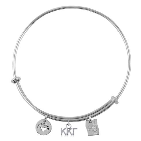 Sterling Silver Kappa Kappa Gamma Adjustable Bracelet with Charms