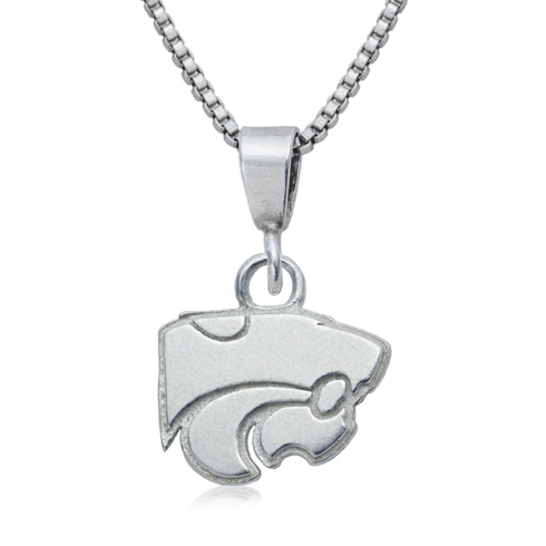 Sterling Silver 3/8in Kansas State University Charm on 16in Necklace