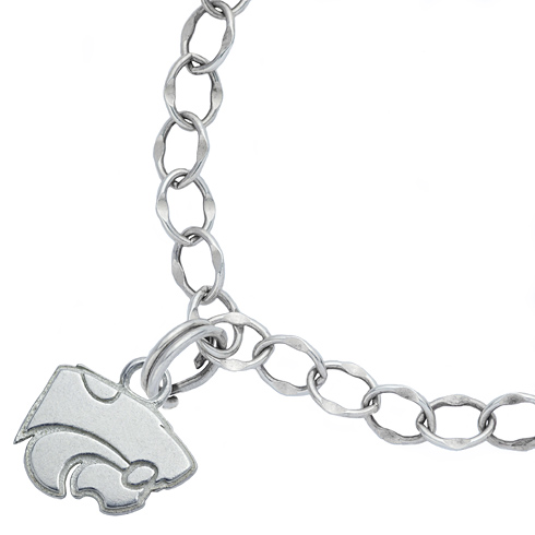 Sterling Silver 7 1/2in Kansas State University Charm Bracelet