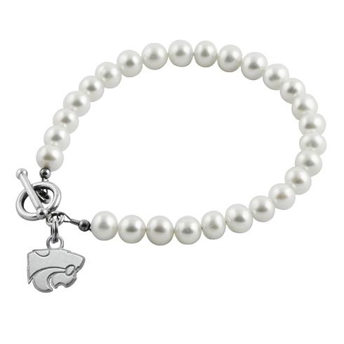 Sterling Silver Kansas State University White Pearl Bracelet