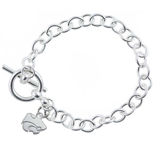 Sterling Silver 7 1/2in Kansas State University Link Bracelet
