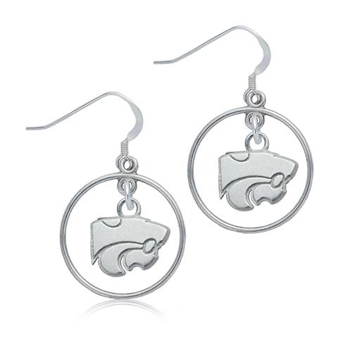Sterling Silver Kansas State University Open Drop Earrings