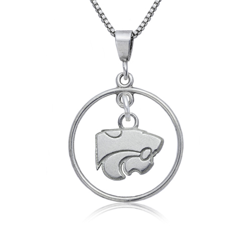 Sterling Silver 16in Kansas State University Open Drop Necklace