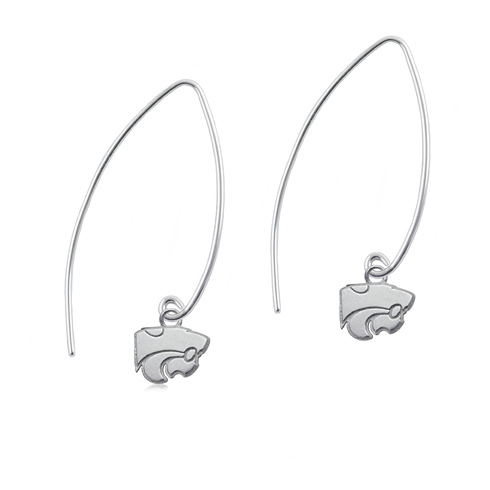 Sterling Silver Kansas State University Long Fishhook Earrings