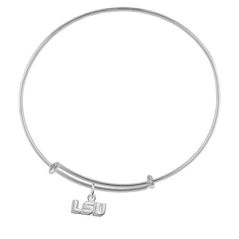 Sterling Silver LSU Charm Adjustable Bracelet