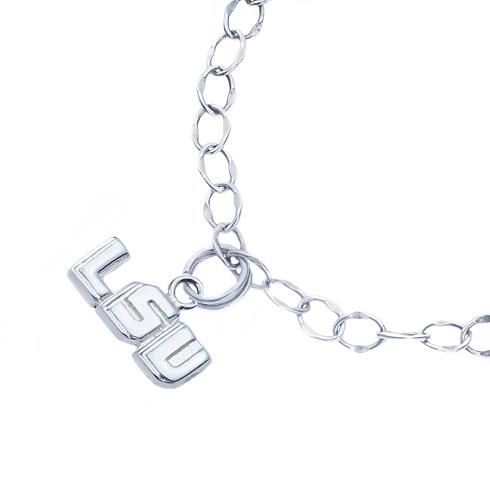 Sterling Silver LSU Charm Bracelet