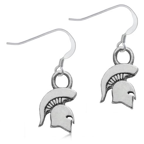 Sterling Silver Michigan State University Spartan Dangle Earrings