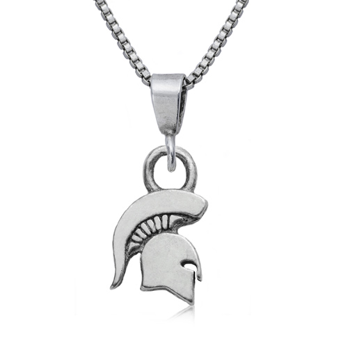 Sterling Silver 16in Michigan State University Spartan Charm Necklace