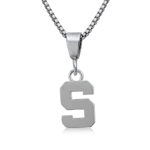 Sterling Silver 16in Michigan State University S Charm Necklace