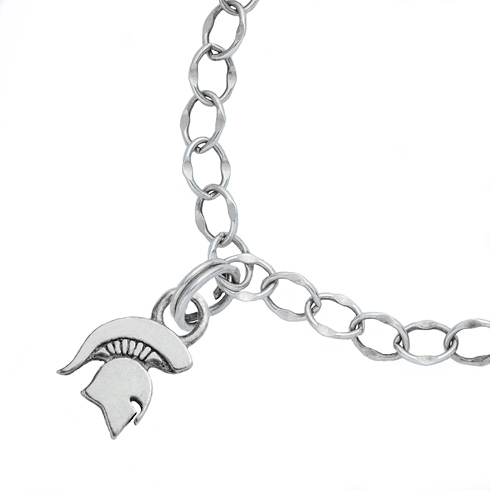 Sterling Silver 7.5in Michigan State University Spartan Charm Bracelet
