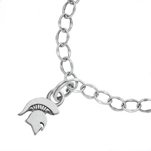 Sterling Silver 7 1/2in Michigan State University Spartan Charm Bracelet