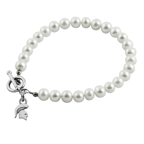 Sterling Silver Michigan State University S White Pearl Bracelet