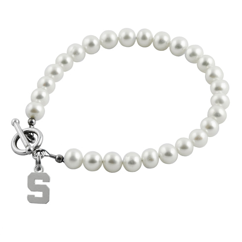 Sterling Silver Michigan State University Spartan White Pearl Bracelet