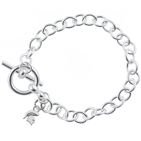 Sterling Silver 7 1/2in Michigan State University Spartan Link Bracelet