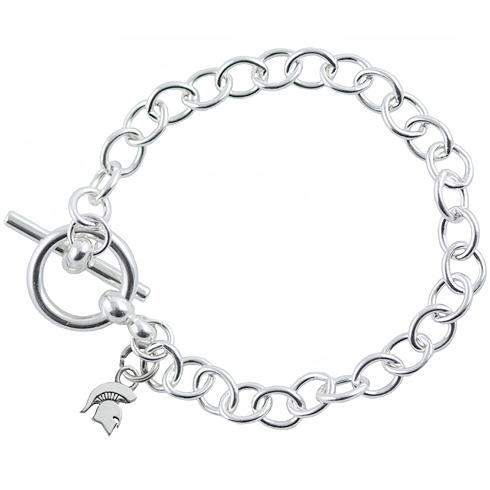 Sterling Silver 7.5in Michigan State University Spartan Link Bracelet