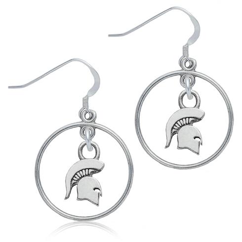 Sterling Silver Michigan State University Open Drop Earrings