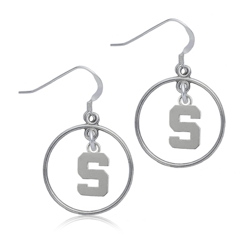 Sterling Silver Michigan State University Open Drop Earrings