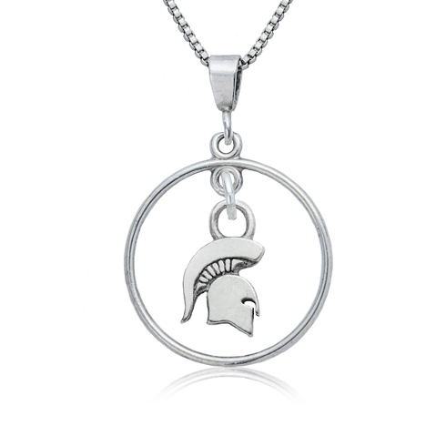Sterling Silver Michigan State University Open Drop Necklace