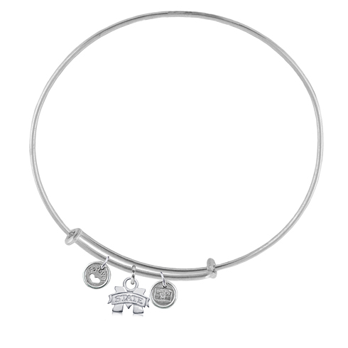 Sterling Silver Mississippi State Adjustable Bracelet with Charms