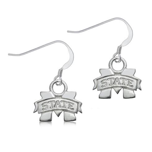 Sterling Silver Mississippi State University Dangle Earrings