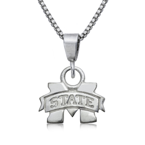Sterling Silver 16in Mississippi State University Charm Necklace