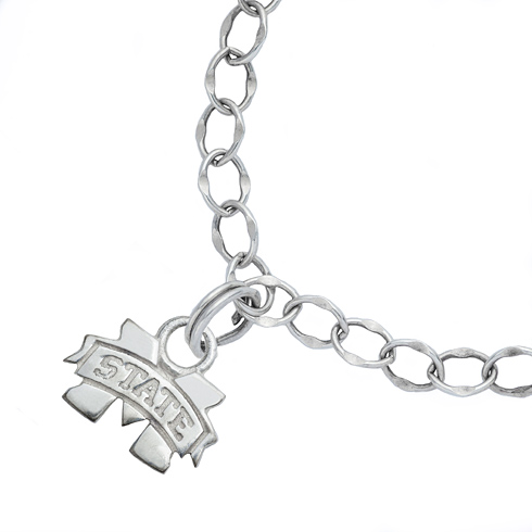 Sterling Silver 7 1/2in Mississippi State University Charm Bracelet