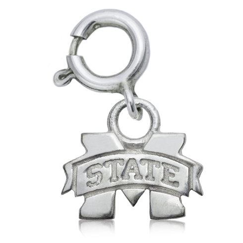 Sterling Silver 3/8in Mississippi State University Charm