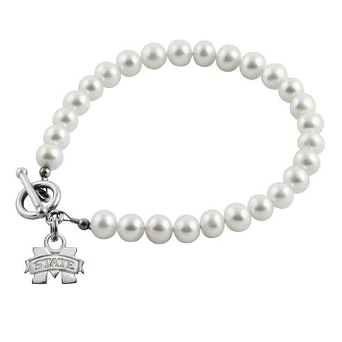 Sterling Silver Mississippi State University White Pearl Bracelet