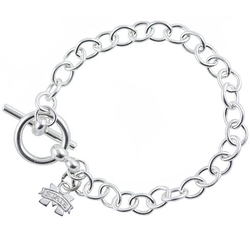 Sterling Silver 7 1/2in Mississippi State University Link Bracelet