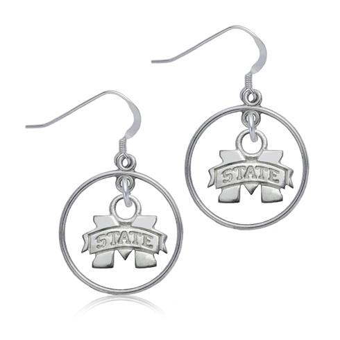 Sterling Silver Mississippi State University Open Drop Earrings