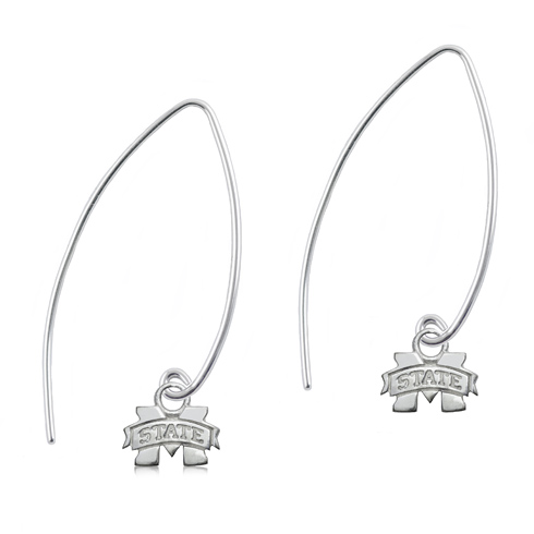 Sterling Silver Mississippi State University Long Fishhook Earrings