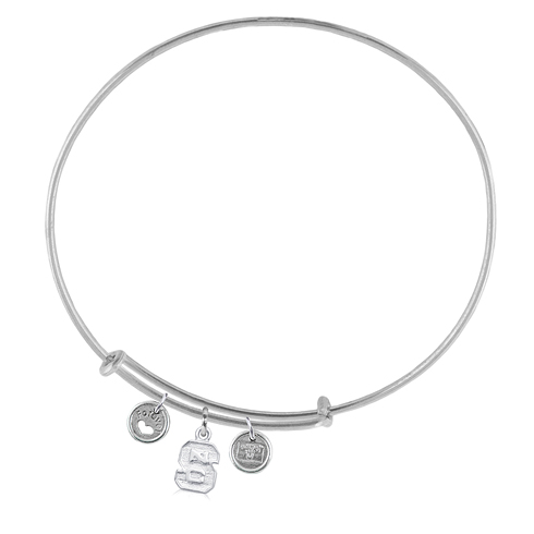 Sterling Silver NC State Adjustable Bracelet with Charms