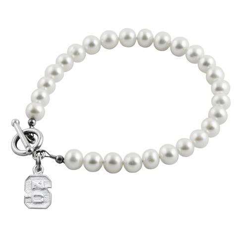 Sterling Silver NC State University White Pearl Bracelet