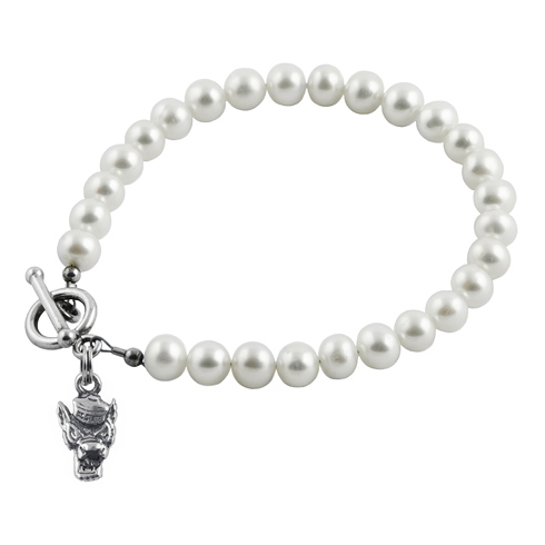 Sterling Silver NC State University Tuffy White Pearl Bracelet