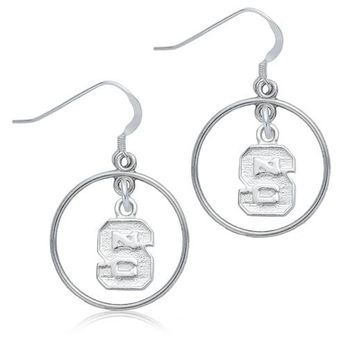 Sterling Silver North Carolina State University Open Drop Earrings