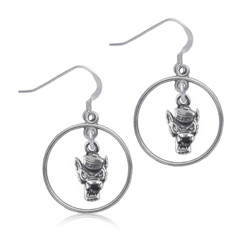 Sterling Silver NC State University Open Drop Earrings