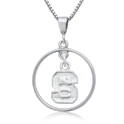 Sterling Silver North Carolina State University Open Drop Necklace