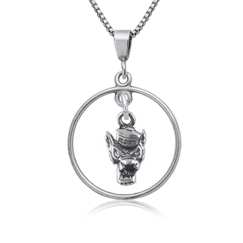 Sterling Silver 16in NC State University Open Drop Necklace