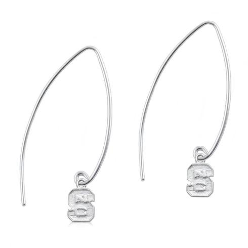 Sterling Silver NC State University Long Fishhook Earrings