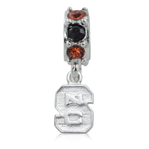 Sterling Silver NC State University S Spirit Charm Bead