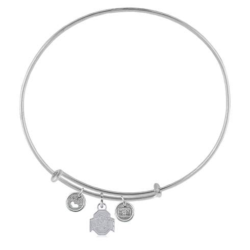 Sterling Silver Ohio State Adjustable Bracelet with Charms