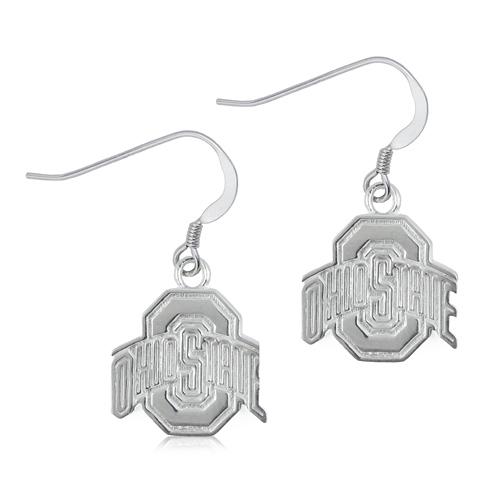 Sterling Silver Ohio State University Dangle Earrings