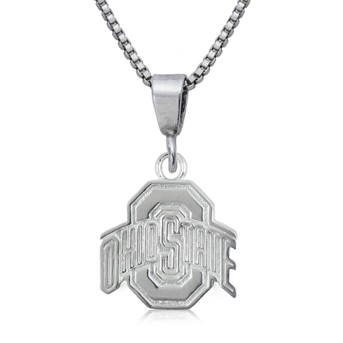 Sterling Silver 16in Ohio State University Charm Necklace