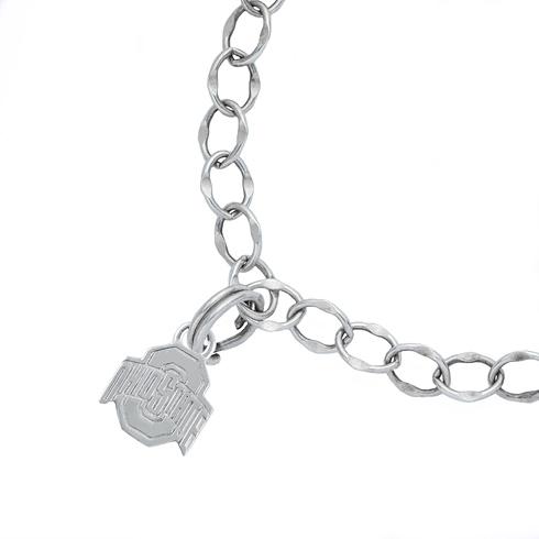 Sterling Silver 7 1/2in Ohio State University Logo Charm Bracelet