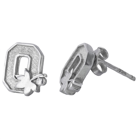 Sterling Silver Ohio State University Post Earrings
