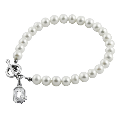 Sterling Silver Ohio State University Block O White Pearl Bracelet