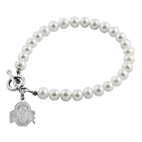 Sterling Silver Ohio State University Athletic White Pearl Bracelet