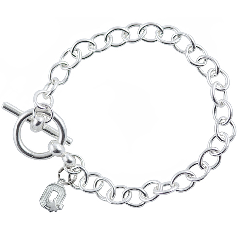 Sterling Silver 7 1/2in Ohio State Block O Link Bracelet