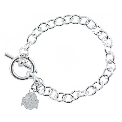 Sterling Silver 7 1/2in Ohio State University Link Bracelet